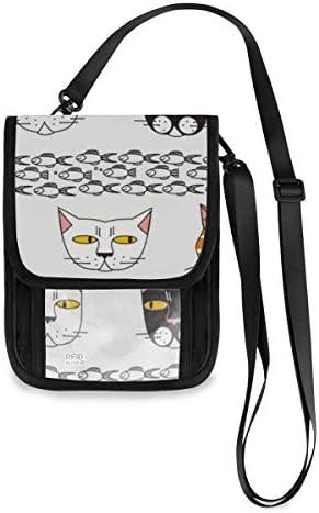 トラベルウォレット ミニ ネックポーチトラベルポーチ ポータブル 猫 魚 小さな財布 斜めのパッケージ 首ひも調節可能 ネックポーチ スキミング防止 男女兼用 トラベルポーチ カードケース