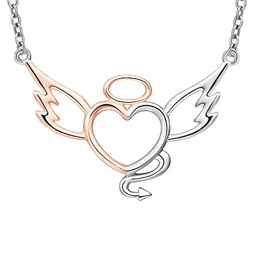 MANBU 925 Sterling Silver Charm Two-Tone Angel Devil Fairy Wings Love Heart Pendant Necklaces Gifts Jewelry for (Animal Sterling Silver Necklace)