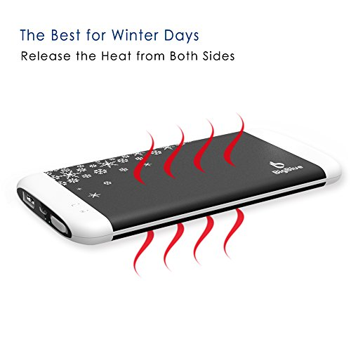 BigBlue Rechargeable Hand Warmer 3 in 1 6000mAh Battery Charger Electric Reusable Hand Warmer with Emergency Light for Winter Sports, Ski, Hiking, Camping, Gift Giving and More