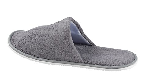 Disposable Slippers - 12-Pack Disposable Slippers, Great for Hotel, Spa, Guest, Nail Salon Use - Non-Slip - Made From Fleece, Grey - fits up to US Men's Size 11 and US Women's Size 12 by Juvale (Image #4)