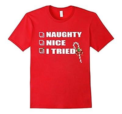 Naughty Nice I Tried T-shirt-Funny Christmas T-Shirt