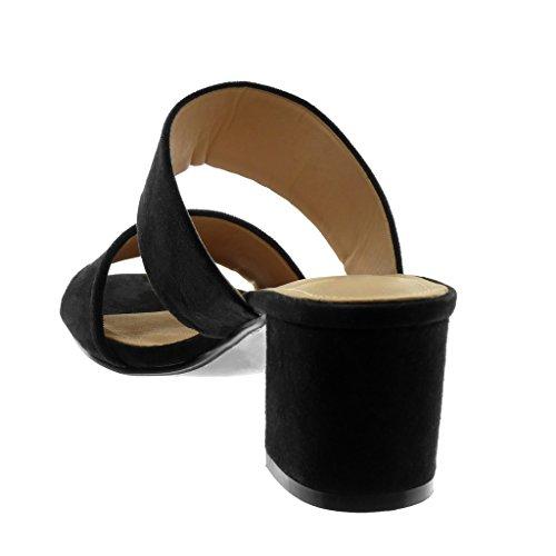 Haut Slip Sandale Angkorly Bloc Lanière Noir Chaussure Mode 5 cm 5 Femme Mule on Talon AwqzIq