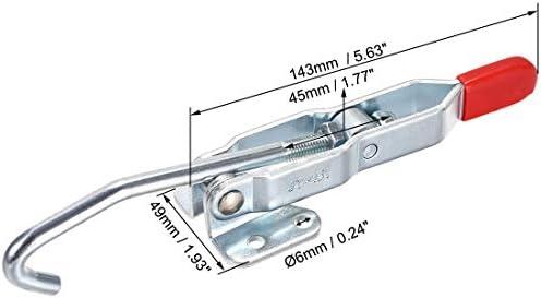 uxcell Jフックトグルクランプ ドローラッチアクションプル クイックホールド 亜鉛メッキ 143 mm x 49 mm 375lbs、1個