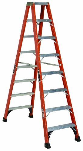 Louisville Ladder FM1408HD Fiberglass Twin Front Ladder, 8-Feet, 375-Pound Duty Rating