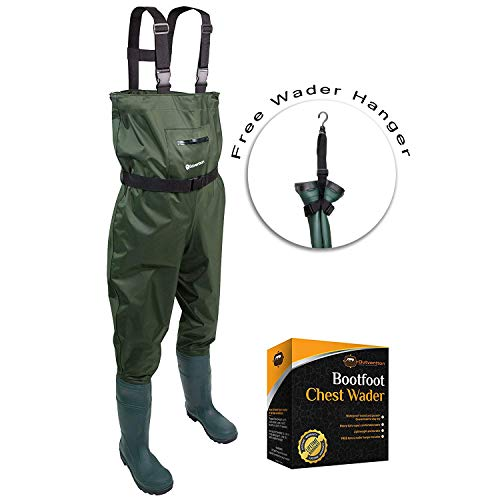 Chest Fishing Waders for Men & Women with Boots- Hunting Nylon PVC Boothfoot Waders - Includes Bonus Wader Hanger & Wading Belt - Leak-Proof & Waterproof Guaranteed (Green, M11/W13)