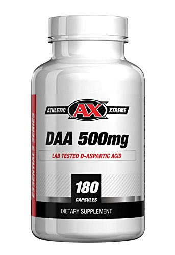 D-Aspartic Acid (DAA) | 30 Day Supply of 3000 mg (500mg caps, 180 caps) | Natural Testosterone Booster | Purity Tested, Highest Quality Available