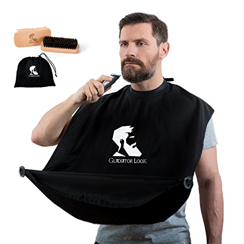 Beard Bib - Hair Catcher & Trimming Apron - Beard Bib for Shaving - Grooming Cape with Tested Suction Cups - Perfect Gift for Men - Black