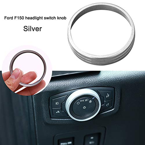 Replacement For Ford Mustang F150 2015-2016 Aluminum Alloy Headlight Lamp Adjust Control Button Knob Cover Trim Frame Ring, half surround (Matt Silver)