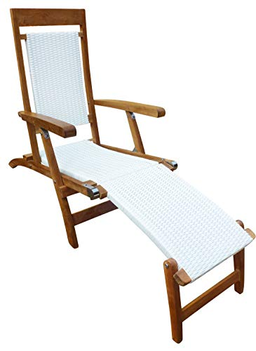 CHIC TEAK Teak Wood Narmada Outdoor Patio Steamer Chair with White All-Weather Webbing Made