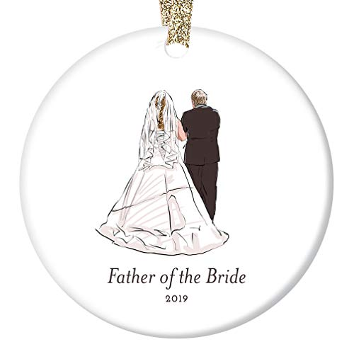 Father of the Bride Ornament 2019 Daddy's Little Girl Daughter Wedding Dance Rehearsal Gift Bride's Dad Father's Day Present Ceramic Keepsake 3
