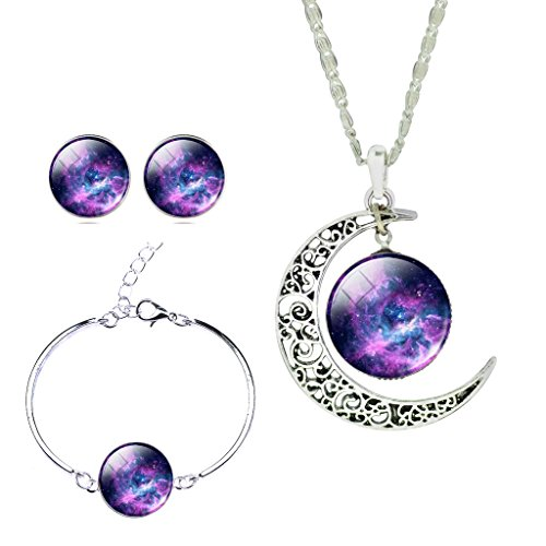 (JIAYIQI Girls Magical Solar System Helix Nebular Arch Moon and Stars Pendant Necklace Crystal Earrings Bracelet Set)