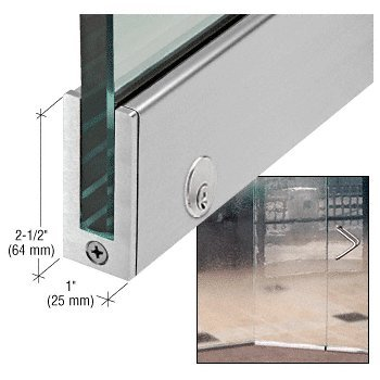 Brushed Stainless LH 2-1/2'' Tall Slender Profile Door Rail With Lock 35-3/4'' (908 mm) Standard Length