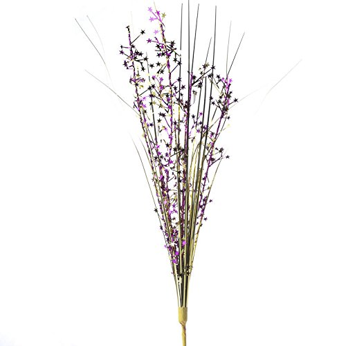 (Factory Direct Craft Group of 12 Metallic Fuchsia and Gold Tinsel Star and Grass Picks for Embellishing Gifts, Crafting and)