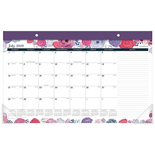 """Cambridge 2019-2020 Academic Year Monthly Desk Pad Calendar, Compact, 17-3/4"""" x 11"""", Midnight Rose (D1101-705A)"""