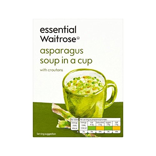 Asparagus with Croutons Cup Soup essential Waitrose 4 x 28g - Pack of 6