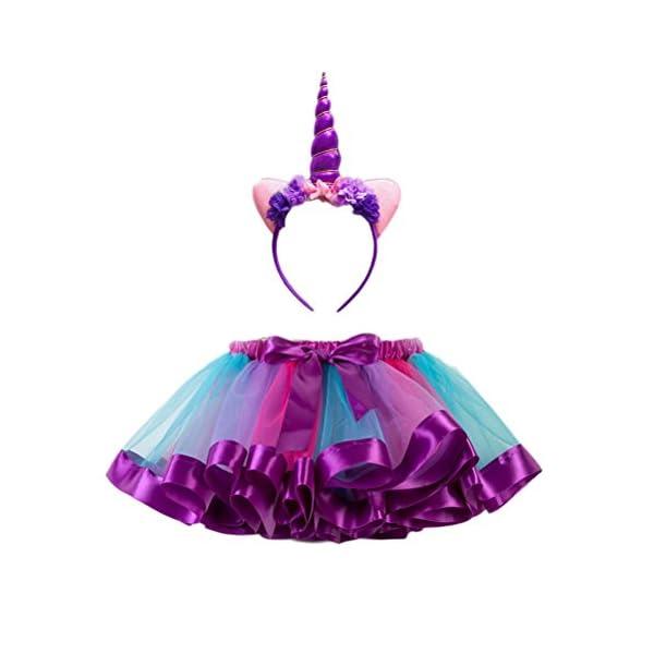 edeaacf29 FENICAL Disfraz de Unicornio para Niñas Diadema Unicornio Floral con ...