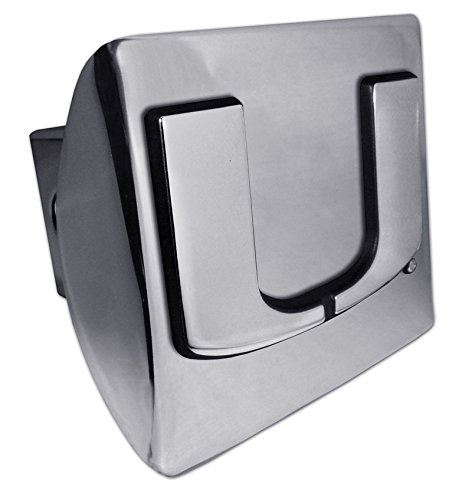 University of Miami Hurricanes Bright Polished Chrome with Chrome Split U Emblem NCAA College Sports Trailer Hitch Cover Fits 2 Inch Auto Car Truck Receiver
