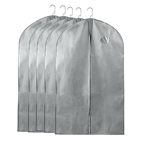 uxcell Breathable Dust-proof Garment Bag, Full Zipper Suit Covers,40-Inch Foldable Garment Bags with Clear Window for Luggage, Dresses, Linens, Storage or Travel (Pack of 5, Gray)