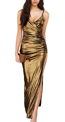golden Maxi Women Coolred Colored Solid Club Camisole Dress Dress 8FWTvqATx