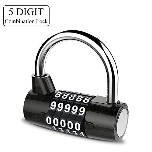 YoungRich 5 Digit Combination Lock Padlock Set Waterproof Antirust Resettable for Outdoor Gym School Office Home Bicycle Suitcase Luggage Backpack Storage Toolbox Cabinets Black by YoungRich