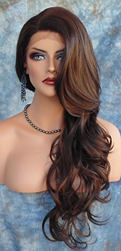 [Wigs For Women Western Women's Charming Long Wavy Curly Wig Dark Brown] (Sexy Glamour Wig In Auburn)
