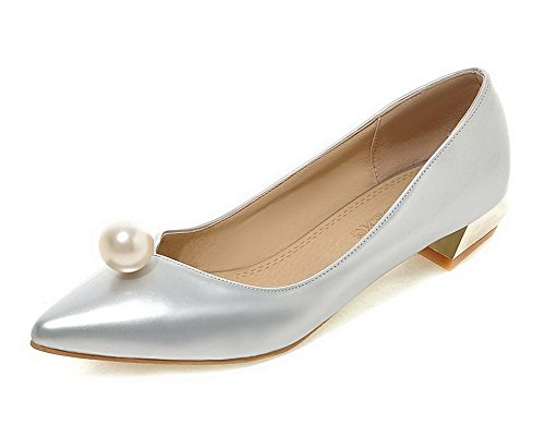 VogueZone009 Women's Pull-On Pointed Closed Toe Low-Heels PU Solid Pumps-Shoes Silver MlHHkR4