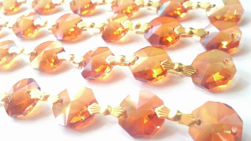 Iridescent Peach - 1 Yard Chandelier Crystal Iridescent Peach Prism Chains Pumpkin