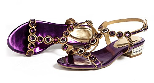 Leather Sandals Low Shoes Round Women's PU Purple Party Rhinestones Honeystore Heel wqOTfI7nF