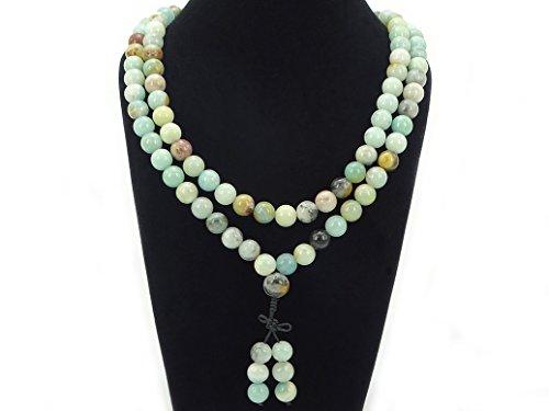 jennysun2010 Natural 10mm Multi-Colored Amazonite Gemstone Buddhist 108 Beads Prayer Mala Long Necklace Multi-Purpose About 43(inches)