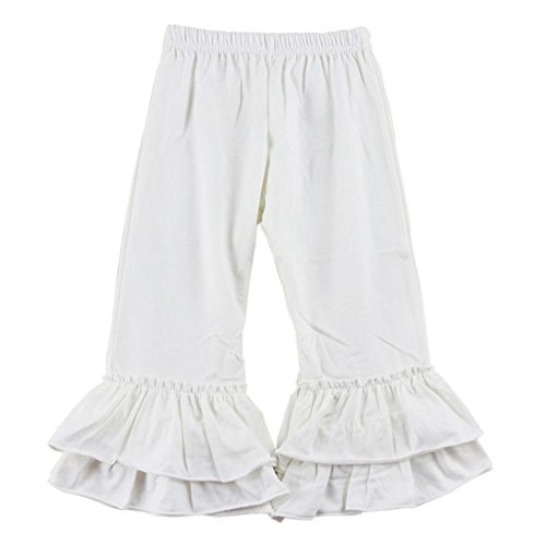 Wennikids Children's Little Girls Ruffle Soft Cotton Flare Pants Medium White (White Ruffle Bottom)