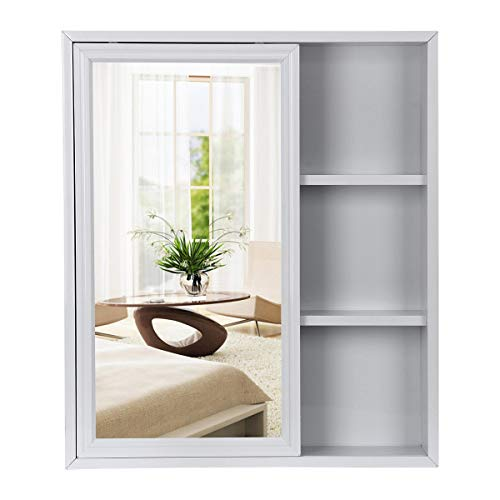 AZDENT Bathroom Medicine Cabinet with Mirror Sliding Door Wall Storage Cabinet Shelves