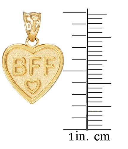 10 ct 471/1000 Or 'BFF' Coeur- Set Pendentif