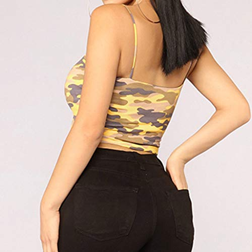 NUWFOR Women Camouflage Sleeveless Tank Top Bustier Bra Vest Crop Blouse Camis Tops(Yellow,US L Bust:24.6-36.2'') by NUWFOR (Image #1)