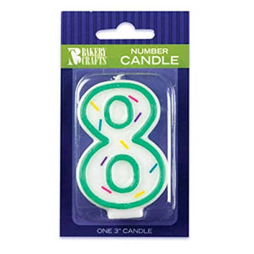 Oasis Supply Sprinkle Birthday Candles, 3-Inch, Number-8