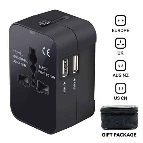 Travel Adapter, iGearPro Worldwide All in One Universal Power Converters Wall AC Power Plug Adapter Power Plug Wall Charger with Dual USB Charging Ports for USA EU UK AUS Cell Phone Laptop (Black)