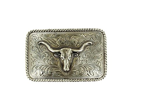 Rounded Square Buckle Belt (Nocona Men's Rounded Square Steer Buckle, silver, One)