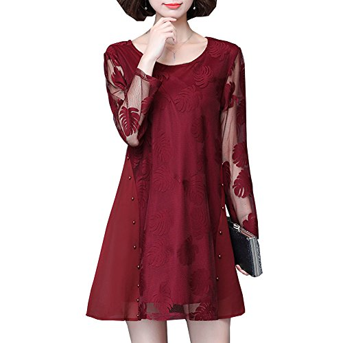 A Solid Line Hollow Red Evening Sleeve Midi Long Party Women YL51123 DISSA Lace Dress qwCSUU