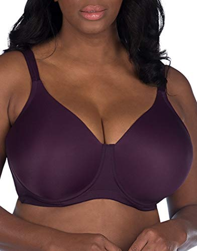 LEADING LADY Molded Padded Seamless Wirefree Full Figure Bra, BlackBerry Wine, 50A