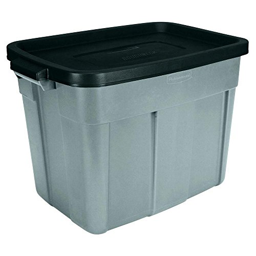 Rubbermaid Roughneck 18 Gallon Storage Tote/Bin Organizer in Gray, Built to Last Durable Construction with Snap-on Lid and Built-in Handles (Roughneck Tote Storage)