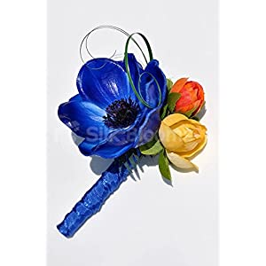 Colourful Buttonhole with Vibrant Anemones and Roses 1