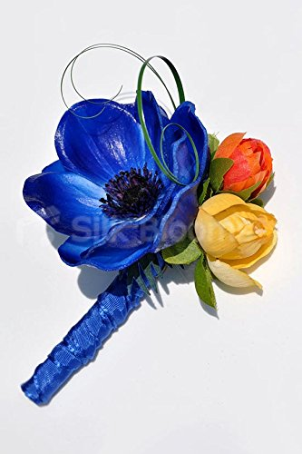 Colourful-Buttonhole-with-Vibrant-Anemones-and-Roses