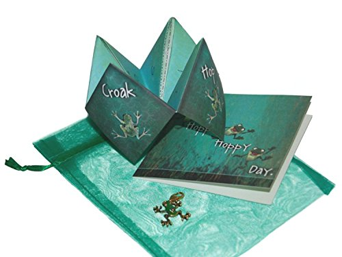 Smiling Wisdom   Frog Charm Gift Set  Nostalgic Origami Game And Colorful Handmade Frog Charm And Hoppy Day Greeting Card   Awesome Birthday Gift Idea