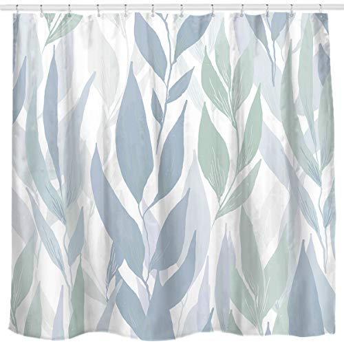 Sunlit Designer Tropical Plant Vine Leaves Fabric Shower Curtains for Bathroom, Home Decorations Fabric Home Curtain 72' W x 72' H