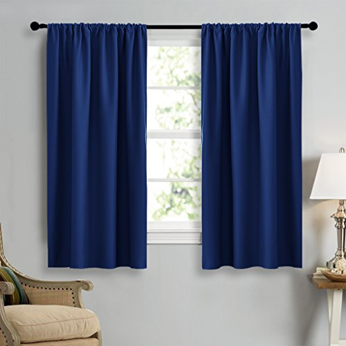 NICETOWN Dark Blue Curtains Blackout Draperies - Home Fashion Thermal Insulated Solid Drape Panels for Kid's Room, Privacy Window Dressing (1 Pair, 42-Inch x -