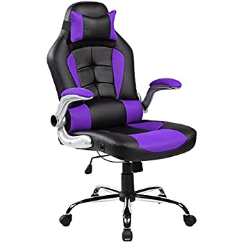 Merax High-back Ergonomic Pu Leather Office Chair Racing Style Swivel Chair Computer Desk Lumbar Support Chair Napping Chair (Purple and Black)
