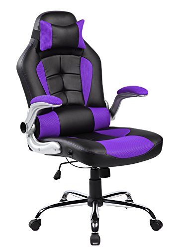 Merax High-back Ergonomic Pu Leather Office Chair Racing Style Swivel Chair Computer Desk Lumbar Support Chair Napping Chair (Purple and Black) (Purple Chair Computer)