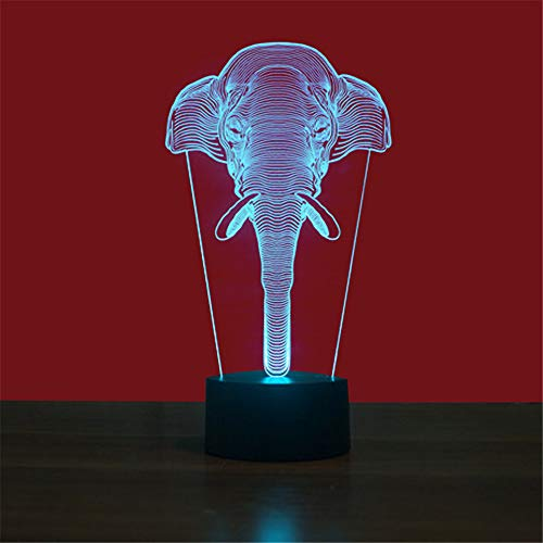 Led8N 3D LED Optical Illusion Lamps Night Light,7 Colour Changing LED Bedside Lamps for Kids with Acrylic Flat,ABS Plastic Base,USB Charger Elephant - Dragon Ball Valentine