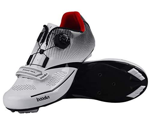 シャワー差し引く委員会自転車靴 ューズ ビンディングシューズ ロードバイクの靴 シューズ シューズ ペダル サイクリングシューズ 耐摩耗性 通気性 超軽量 (39, ホワイト)
