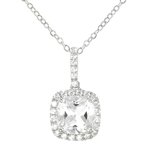 Silver 14k White Gold Cushion Cut and Round Brilliant Cut Created White Sapphire Necklace 18