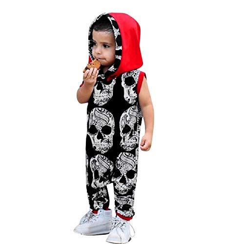 Price comparison product image Fashion Skull Bone Hoodie Legging Pants Outfit Set-Newborn Unisex Baby Boys Girls (Black,  100)